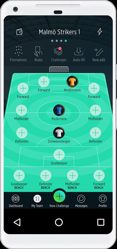 TrophyRoom Football Game - My Team Lineup